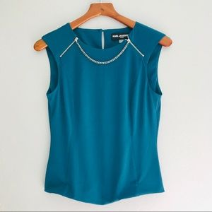 Karl Lagerfeld Sleeveless Turquoise Top